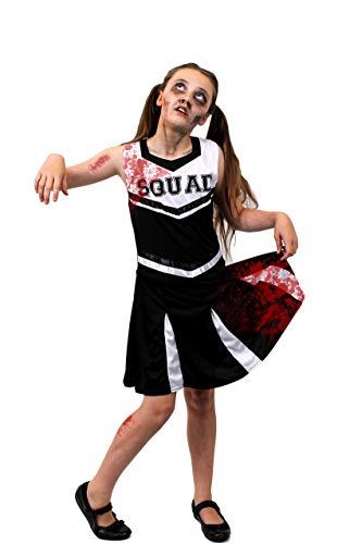 ILOVEFANCYDRESS Kinder Zombie Cheerleader KOSTÜM Verkleidung = Schwarze/WEIßES Kleid = Dieses KOSTÜM Hat DIE Aufschrift = Squad = = BEINHALTET - Kleid + KUNSTBLUT + SCHMINKE=XLarge (Kind Kostüm Cheerleader Zombie)