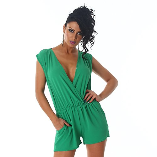 Voyelles Damen Overall Anzug Hausanzug Jumpsuit Bodysuit Einteiler Hosenkleid Hosenanzug Grün