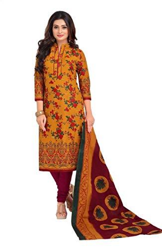 Vaamsi Women\'s A-Line Printed Salwar Suit Dress Material(Deep1053_Yellow_Free Size)