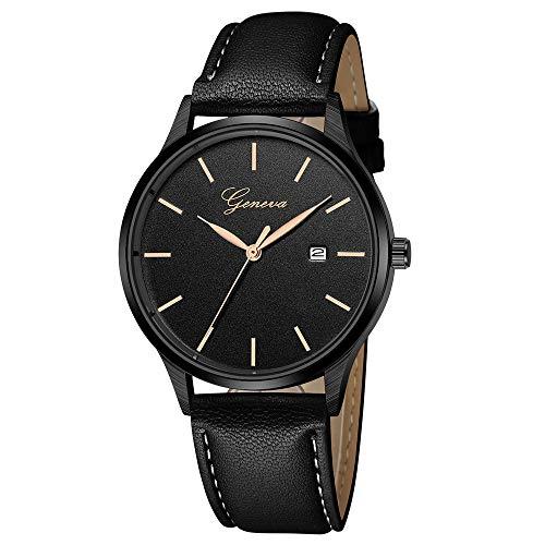 Deloito Herren Mode Edelstahl Fall Uhren Lederband Sportuhren Quarz Analog Armbanduhr (B)