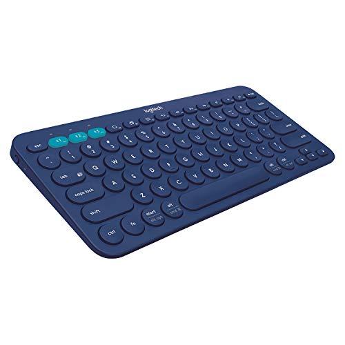 Logitech K380 Tastiera Bluetooth Wireless Multidispositivo per Windows, Apple iOS, Design Compatto, PC/Mac/Laptop/Smartphone/Tablet, Layout Inglese UK QWERTY, Blu