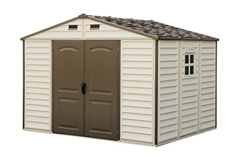 Woodside 10 x 8 Vinyl Storage shed with Foundation and three fixed window