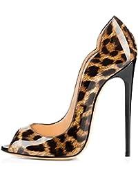 ELASHE - Zapatos de tacón - 12 CM Clásicas Tacones Altos - Boda Wedding Peep Toe Pumps