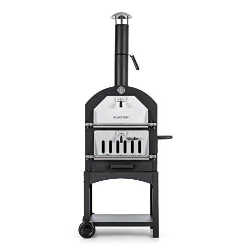 Klarstein Pizzaiolo Perfetto • Four à Pizza • Parois d'acier de 1,2 mm • Pierre en Argile réfractaire • Facile à déplacer • Thermomètre intégré • Grande Surface de Cuisson • Noir