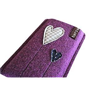Handytasche Samsung Galaxy S9 Handyhülle Smartphone Filzhülle Handy Hülle Tasche Cover Case Filz Wollfilz herz am stiel handmade herzballon herzblume