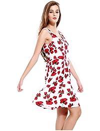 ZLL Encolure v longue dos nu sexy Ladies imprimer robe sans manches pour faire une jupe