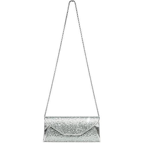 Tasche Clutch elegante TA347 Abendtasche Glitzer Silber Damen CASPAR wIqXUCTgw