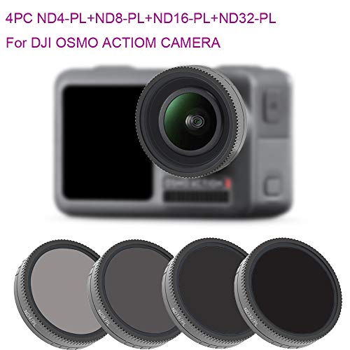 Haludock 1 Set Optisches Glas Ultraleicht 4PC ND4-PL + ND8-PL + ND16-PL + ND32-PL Kameraobjektivfilter Für DJI Osmo Action 4K Kamera
