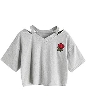 K-youth® Blusas de Mujer, Mujer Camisetas Verano Casual Mujer Rose Impresión Manga Corta Casual Camiseta Corta...