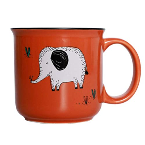 Yiszj Tasse Isolierbecher Teetasse Imitation Emaille Tasse Retro Wasser Tasse Hause Kreative Trend Tee Urne 350Ml Walking Elephant -