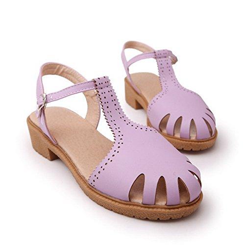 AllhqFashion Damen Schnalle Weiches Material Niedriger Absatz Schließen Zehe Sandalen Lila