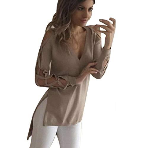 gsgeschenkTops Für Damen Sommer Täglich Hemden Lässige Weste Verein Sexy Hohle Hülse Persönlichkeit Bluse(Khaki,L) ()
