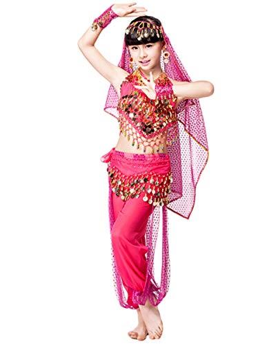 Grouptap Bollywood Indien Baby Mädchen Kinder 4-teilige Prinzessin arabischen Bauchtanz Kleid Kostüm Rosa Top Hosen Gürtel Schleier Phantasie Kind Outfit (Rosa, 130-150 cm)