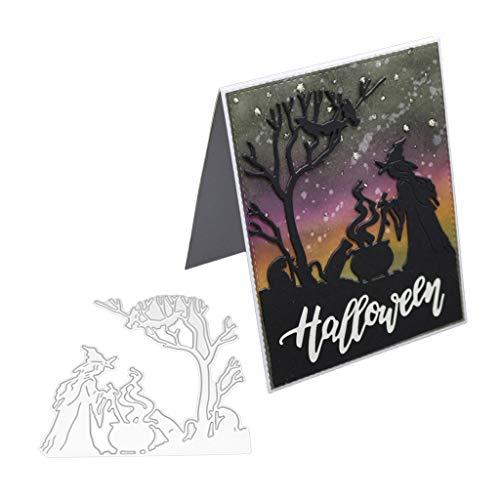 liangjunjun Stanzschablone Halloween Hexe Metall Stanzformen Schablone Für DIY Scrapbooking Papierkarte Prägung Handwerk Dekor