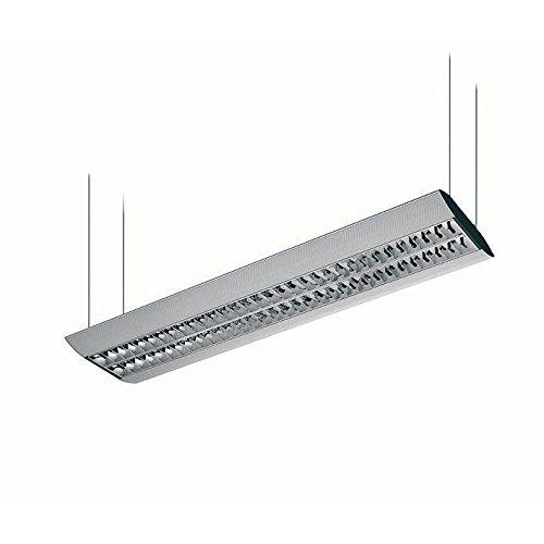 Pendelleuchte 2x54 W inkl. 2x54 W LF 840 Neutralweiß Deckenleuchte, Büroleuchte, Hängeleuchte - direkter und indirekter Lichtanteil mit Doppelparabolraster (BAP) und elektronischem Vorschaltgerät - Pl Pendelleuchten