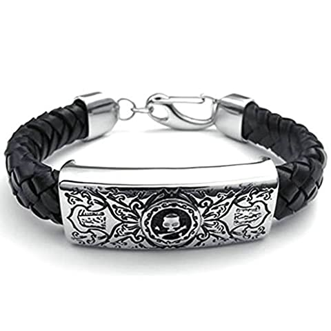 AMDXD Schmuck Herren Armband Edelstahl Muster Totenkopf Schwarz Silber Armkette