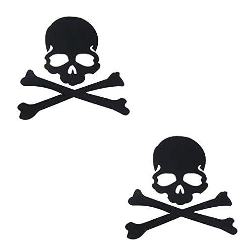 Stickers, Kolylong® Autocollant DéCoration Skull Fashion Design 3D Pour Side Car RéTroviseur (Noir)