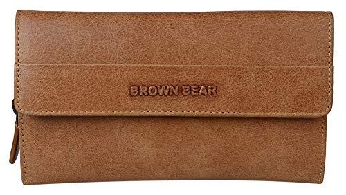 Brown Bear Geldbörse Damen groß viele Fächer lang Leder Braun RFID Schutz Camel Vintage Reißverschluss Geldbeutel Frauen Portemonnaie Portmonaise Portmonee Ledergeldbeutel Ledergeldbörse -