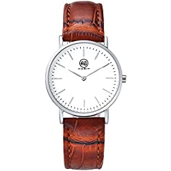AIBI Waterproof Womens Brown Leather Ultra-Thin Silver Stainless Quartz Watch
