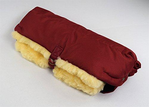 Peau d'agneau chauffe-mains, poussette, chauffe-mains avec laine d'agneau médical doublés Muff Taille universelle pour poussette, buggy, pendentif de roue 02HW