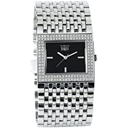 Davis 'Elegance Pool' Quartz Watch with Shiny Silver Steel Bracelet and Stone Surround