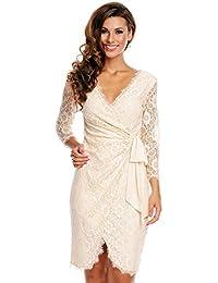 Damen Spitzenkleid Kleid Spitze Wickelkleid Cocktailkleid Abendkleid Deluxe Look