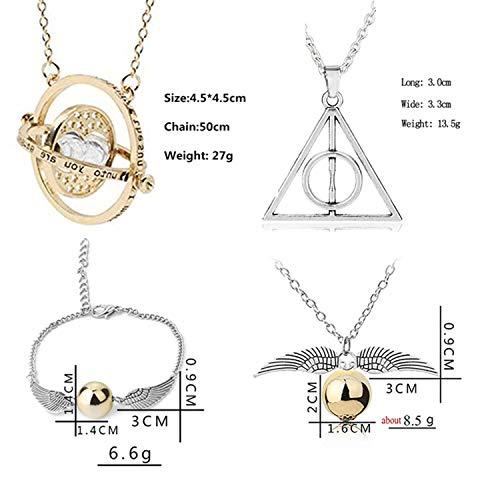 410ZiklYzoL - PPX Juego de 4 Collares de Harry Potter con Forma de Serpiente Dorada para los Fans de Harry Potter, colección de Regalos mágicos para Cosplay, joyería para Mujer y niña,con Caja Transparente