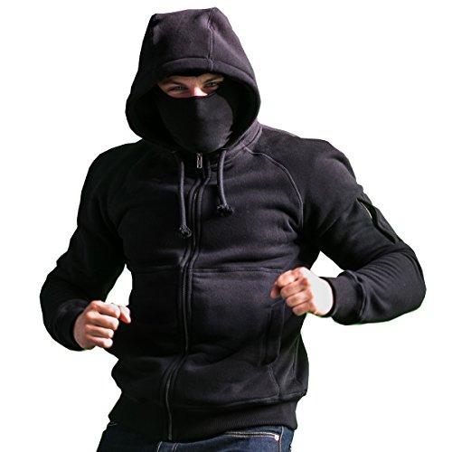 Kapuzenpullover Ninja (PGwear Ninja Kapuzenjacke Smuggler mit Sturmhaube in schwarz und grau (L,)