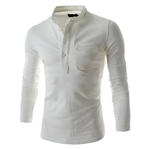 Poloshirt Herren Langarm Hemden Polo Kentkragen mit Brusttasche Business Casual Elegante Shirts Herrenmode (XXL, Weiß)