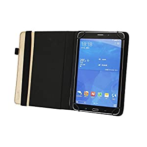Emartbuy® 360 Degree Rotating Stand Folio Wallet Case Cover for ATL-21X HD (Size 9-10 Inch 360_Metallic Gold Plain)