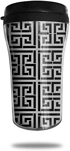 Schwarz und Weiß Griechisch Schlüssel Reise Kaffeetasse 3D Gedruckt Tragbare Saugnapf, Isolierte Teetasse Wasserflasche Becher zum Trinken mit Deckel 8,54 Unzen (250 ml)