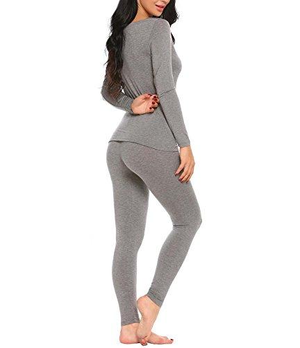 AIMADO Damen Thermounterwäsche Set O-Neck Baumwolle Warm Winter Unterwäsche 2 Farben Grau(Typ A)