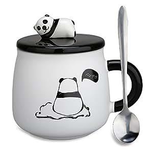Tazza in ceramica regali–panda 3D Birthday Christmas present caffè Tazze da tè con coperchio e cucchiaio per Special Friends, Mother, ragazze, bambini Lonely Panda