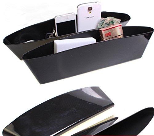 Preisvergleich Produktbild Design61 2er Set Autositz Organizer Aufbewahrungs-Box 2er-Set Lückenfüller Fach für Handy und vieles mehr in Schwarz