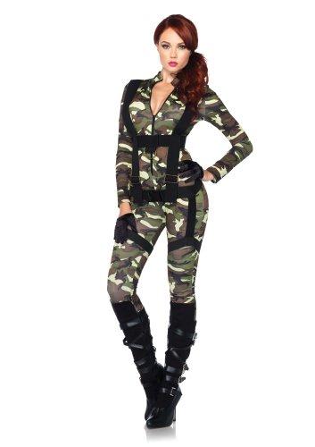 Leg Avenue 85166 - 2Tl. Kostüm Set Hübsche Fallschirmspringer, Größe S, grün, Damen Karneval Kostüm (Damen Militär Kostüme)