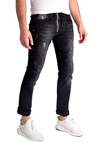 Herren Jeans Hose Destroyed Denim Straight Fit verwasche Denim Jeanshose Skinny Slim-Fit Schwarz_FKZ-615