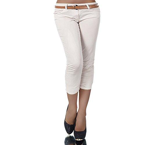 H968 Damen Chino Hose Stoffhose Capri Bermuda Sommerhose Boyfriend Shorts Gürtel, Farben:Beige;Größen:42 (XL) (Gürtel Leder Hüft)