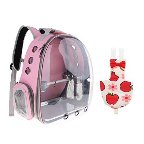 Sharplace Zaino da Trasporto Rosa per Animali Domestici con Pappagallo Rosso a Forma di Mela M