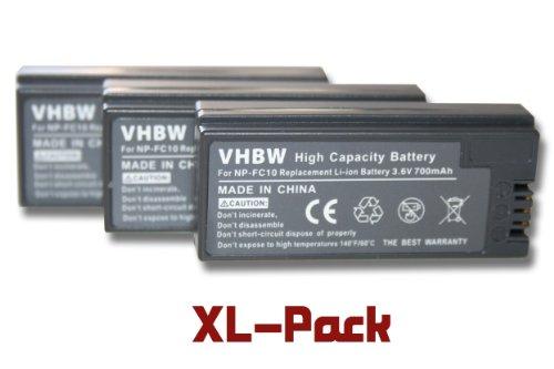 3 x vhbw Akku Set 700mAh für Kamera Sony DSC-F77, DSC-FX77, DSC-P (Cyber-Shot Point & Shoot) Serie wie NP-FC10, NP-FC11 -