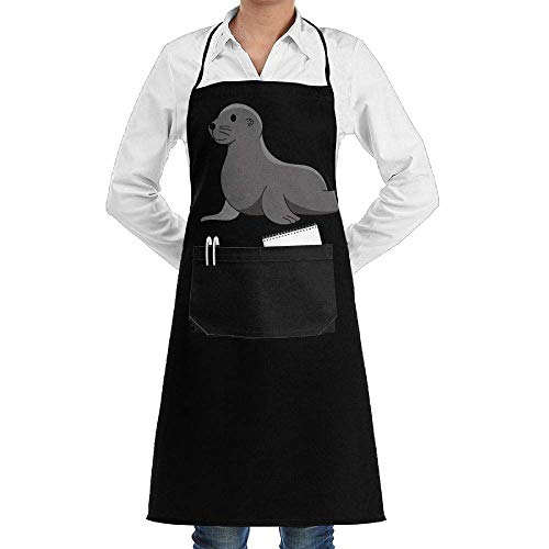 Jxrodekz Men & Women Long Aprons Baby Sea Lion Elephant Seal Western Restaurant Sleeveless Anti-Fouling Overalls with Pocket