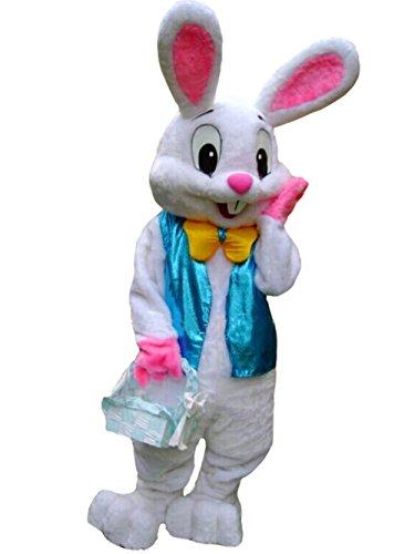 YICHENN Yichen Deluxe Plüsch-Hasen-Kostüm für Erwachsene, Osterhasen-Kostüm, weiß (Osterhasen Kostüm Für Erwachsene)