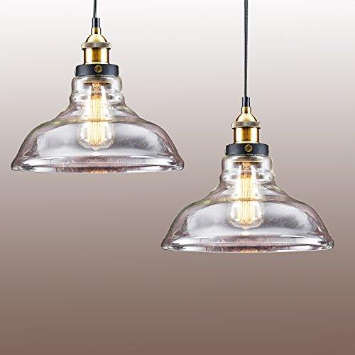 2x Retro Industrielle Glas Pendelleuchte, MOTENT Vintage Loft Stil durchsichtige Hängelampe 7,87 Breite Antik Innen Pendel Lampe für Flur Schlafzimmer Wohnzimmer Bar Café Laden Salon Restaurant