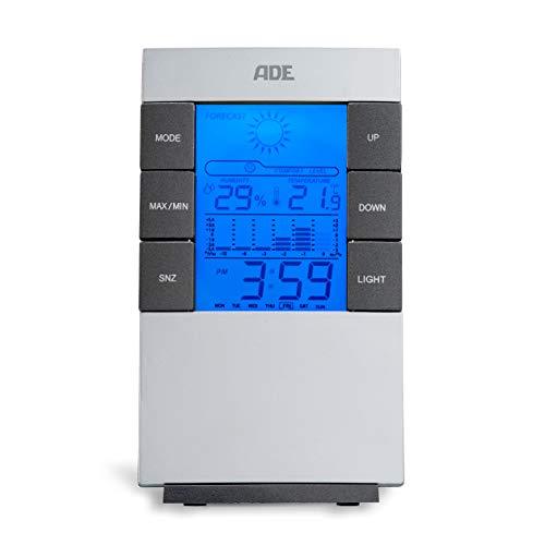 ADE Digitale Wetterstation WS 1817 (mit Wettervorhersage, Thermometer, Hygrometer, Uhr, Kalender, beleuchtetes LCD-Display) silber
