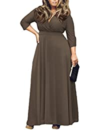 Bigood Robe Grande Taille Femme Col V Manches 3/4 Robes de Plage Longue Voyage Casual Mode