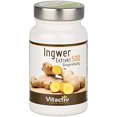 INGWER Extrakt 500 - Mehr als 160 Nährstoffe in einer Knolle - hochdosiert - 60 Kapseln (Monatspack)