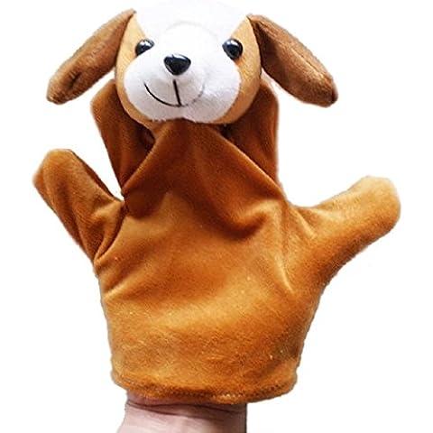 Malloom Bebé niño zoo animal de granja mano guante marioneta dedo saco del juguete de la felpa (Perro)