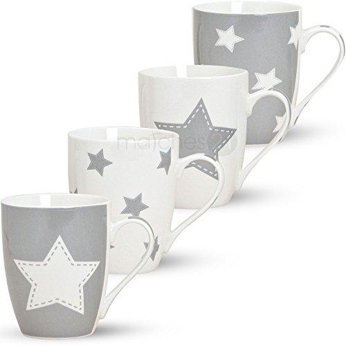Kaffeebecher Tassen Becher 4-tlg. Set mit Stern grau aus Porzellan gefertigt, je 10 cm hoch / 300 ml