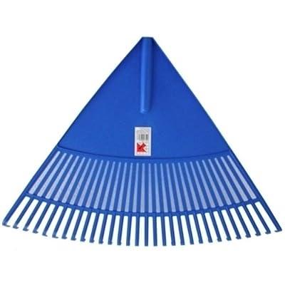 Jumbo Laubbesen Laubrechen Fächerbesen (blau) 30 Zinken mit Holzstiel Riesenrechen Rechen