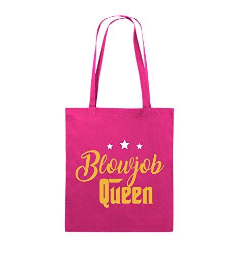 Comedy Bags - Blowjob Queen - Jutebeutel - lange Henkel - 38x42cm - Farbe: Schwarz / Weiss-Neongrün Pink / Gelb-Weiss