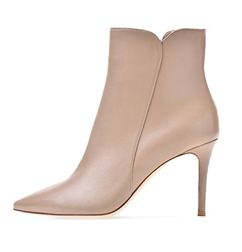 Soireelady Damen Ankle Boots |Stiefeletten Zipper | Leder-Optik Schuhe | 8 CM High Heels | Kurzschaft Stiefel mit Absatz Beige EU39 (High Leder Stiefeletten Heel)